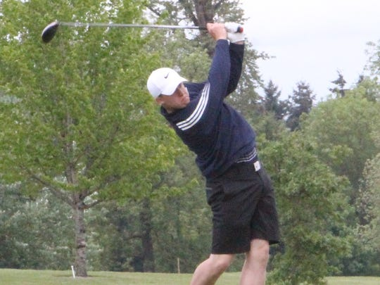 Stayton's Aidan Hill tees off at the OSAA Class 4A state golf tournament on Monday, May 15, 2017.