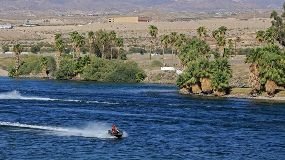 Watersports are popular on the Colorado River between Bullhead City, Arizona, and Laughlin, Nevada.