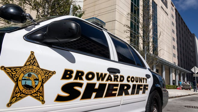 A Broward County Sheriff's car is parked in front of the Judicial Complex in Fort Lauderdale on Feb. 19, 2018.