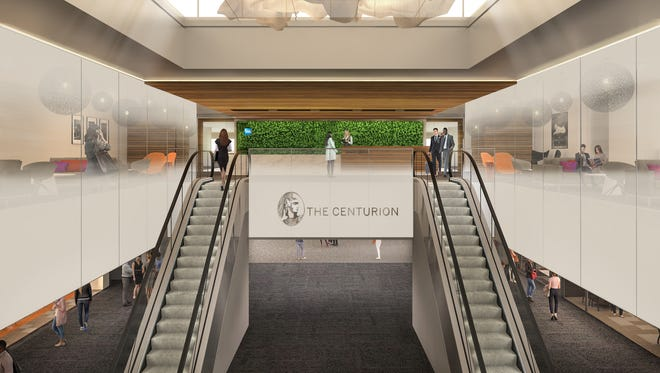 This rendering provided by American Express shows what the entrance to its new Centurion Lounge planned for the Denver airport might look like.