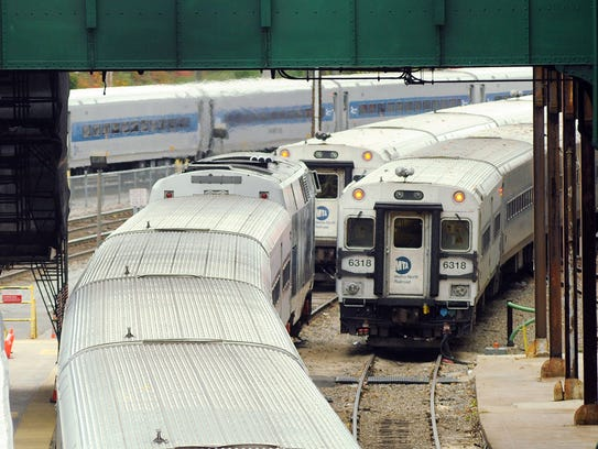 Metro-North trains parked at the Poughkeepsie Train