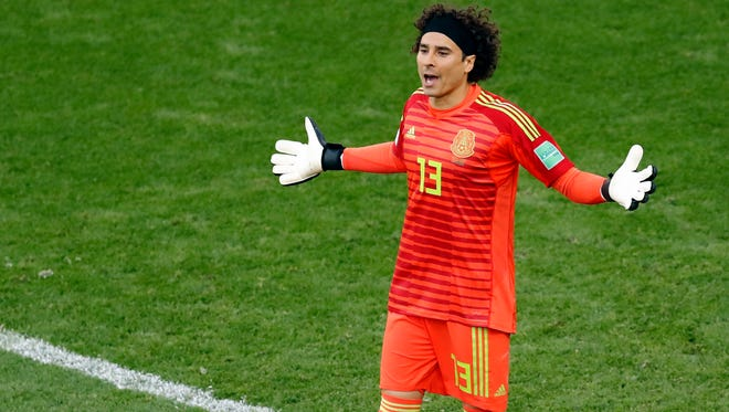Mexico goalkeeper Guillermo Ochoa reacts during the group F match between Mexico and Sweden, at the 2018 soccer World Cup in the Yekaterinburg Arena in Yekaterinburg , Russia, Wednesday, June 27, 2018. (AP Photo/Efrem Lukatsky)