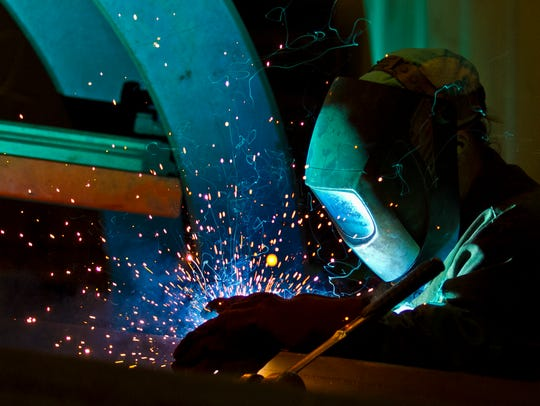 Kathy Campbell, a welder at Dean Steel Buidings in