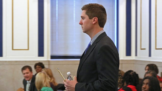 Ray Tensing, former University of Cincinnati police officer, walks into the courtroom of  Common Pleas Judge Megan Shanahan on Friday.  Tensing is charged with murder of Sam DuBose during a routine traffic stop on July 19, 2015.