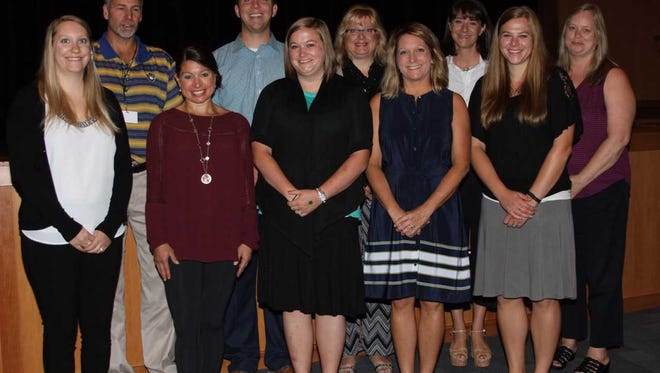 The Hamilton Education Foundation awarded $58,000 worth of grants throughout the Hamilton School District in 2016-17 and 2017-18.. Recipients included staff members at the high school (from left, front row) Andrew Kougl, Joseph Premo, Deb Figueroa, Jen Knapp, Mary Caucutt, (back row) Steffanie Sheikh, Jessica Ronk, Amanda Fields, Patricia Sankey and Ashley Pfeifer.