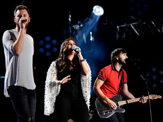 Lady Antebellum -- Charles Kelley, left, Hillary Scott,