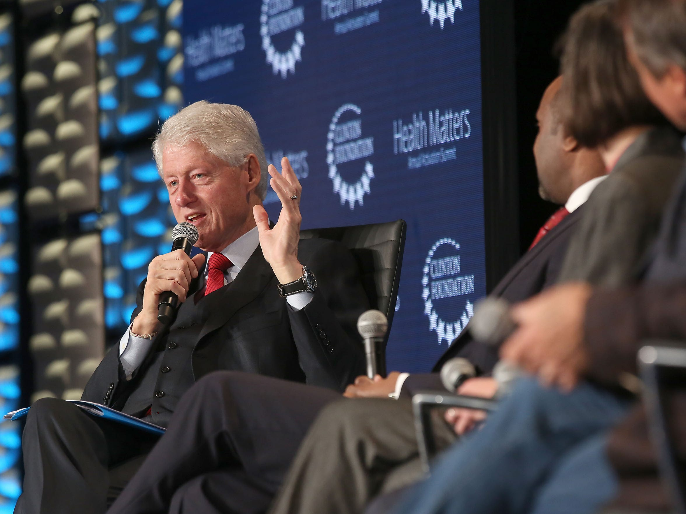 President Bill Clinton speaks during a panel discussion