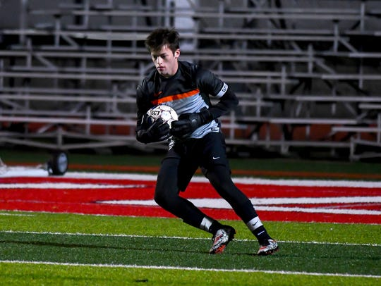 Loveland goalie Josiah Pokopac catches the ball against