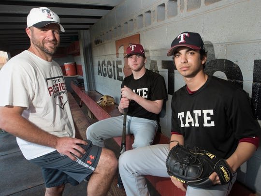 New Tate baseball coach Karl Jernigan, left will rely heavily on returning players Reid Halfacre and Gabe Castro for the Aggies success this season.