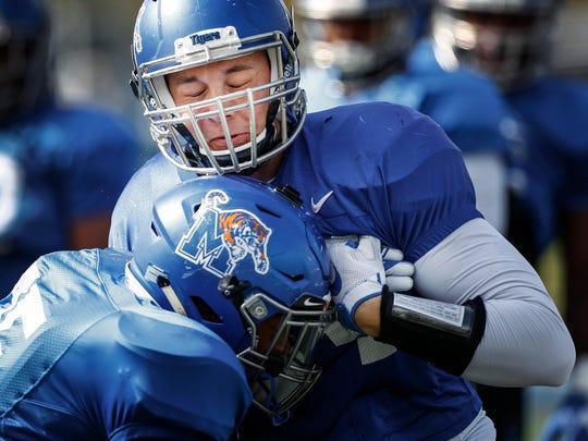 University of Memphis  linebacker Jackson Dillon drills