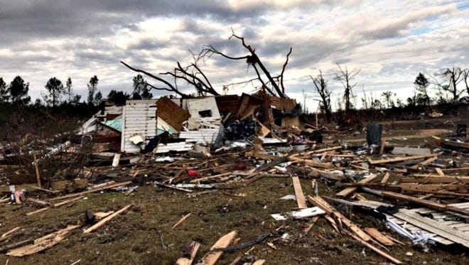 Home destroyed by tornado in Marion County.