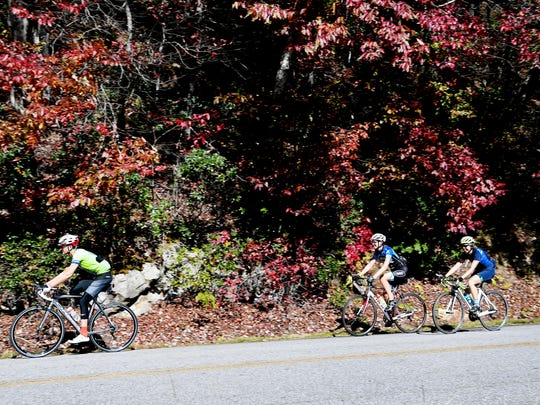 Cyclists ride along the Blue Ridge Parkway.