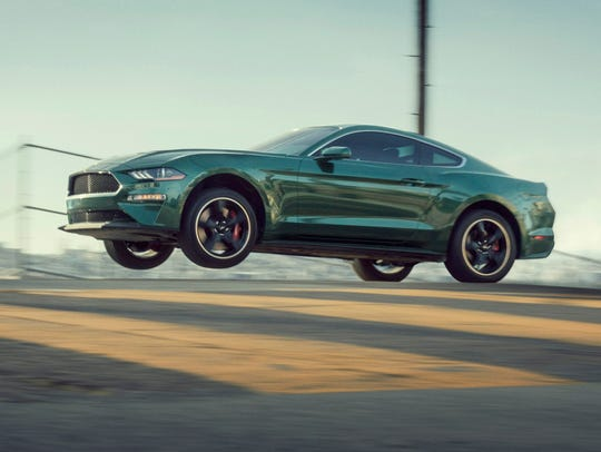 The 2019 Ford Mustang Bullitt gets air.