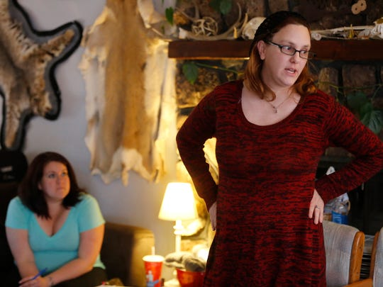 """Rachel Glicker Duggins rehearses a scene from """"The Vagina Monologues"""" last Sunday, while Annette DiGiacomo looks on."""