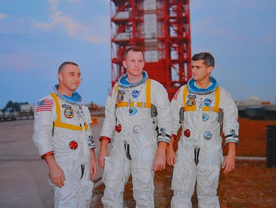 NASA photo of astronauts Gus Grissom, Ed White and
