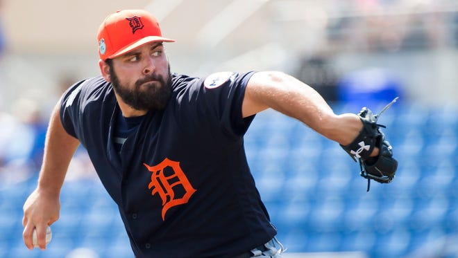 Detroit Tigers starting pitcher Michael Fulmer works against the Toronto Blue Jays during the first inning of a spring training game Wednesday, March 1, 2017 in Dunedin, Fla.