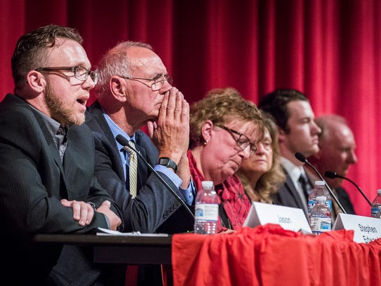 Six school board candidates answer questions from attendees