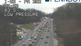 Emergency crews respond to a crash on I-83 on Thursday.