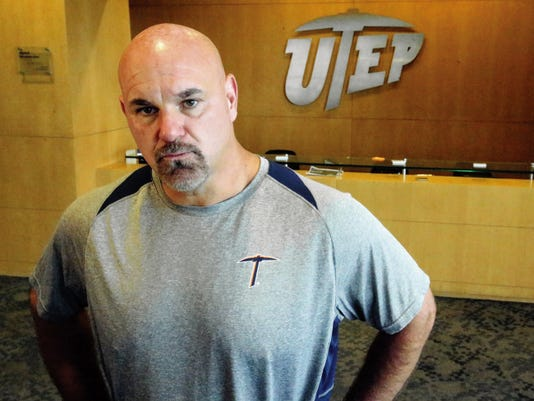UTEP head football coach Sean Kugler talks about the Conference USA Media Day July 21-22 in Boca Raton, Fla. during a press conference Monday in the Larry K. Durham Center.