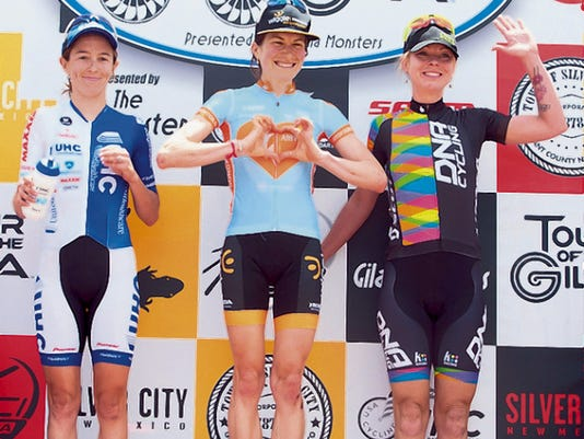 Courtesy Photo   Mara Abbott of the Amy D Foundation won her fifth Tour of the Gila on Sunday. Katie Hall, left, was second, while Breanne Nalder was third.