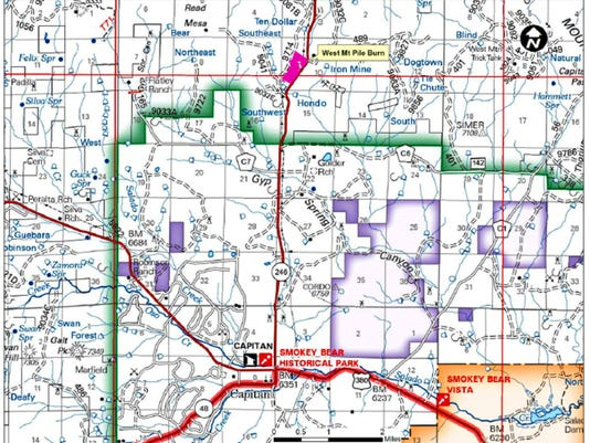 The map shows the site of the controlled burn in pink.