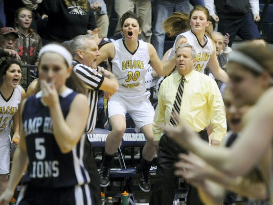The Delone Catholic bench reacts to a call during the team's 67-64 loss to Camp Hill in double overtime Monday in the District 3 Class AA semifinals in Dallastown. The Squirettes will miss the district title game for the first time since 2010.