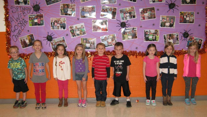 Kindergartners named Students of the Month for September at Janvier School in Franklin are: (from left) Brayden Dalponte, Riley Harrison, Emmy Jernegan, Peyton Six, Landen Redrow, Cole McNamara, Faith Frazeur, Eva Austin and Jorgia Valentino.