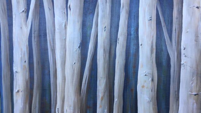 Maria Wayman's work, Winter Birches, is an acrylic on canvas.