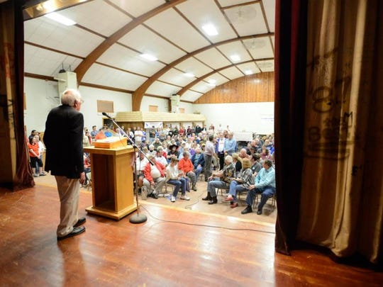 Bernie Sanders addresses a crowd in Kensett, Iowa, on May 30, 2015. Sanders spent three days holding rallies across eastern Iowa. By the time he got to Kensett, his voice was hoarse.