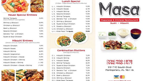 The Masa menu features a mix of Japanese and Chinese dishes.