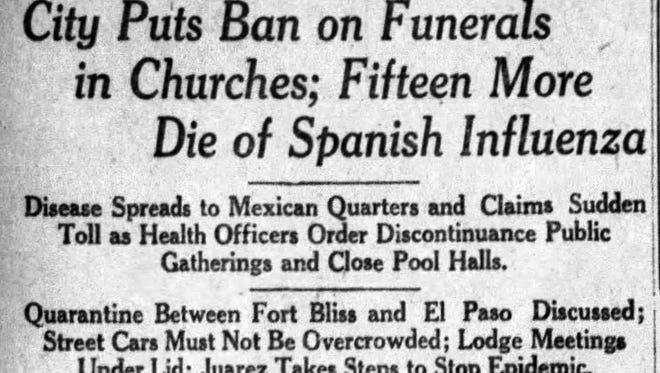 A Spanish Flu headline from the El Paso Times on Oct. 9, 1918.