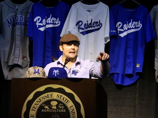 Former MTSU baseball catcher and current Texas Ranger baseball player Michael McKenry, speaks during the MTSU Baseball Groundhog Day lunch and fundraiser, on Tuesday, Feb. 2, 2016.