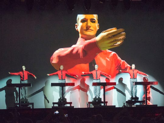 Kraftwerk performs on the main stage during the Movement Electronic Music Festival.