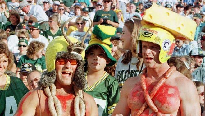 Green Bay Packers fans celebrate at Lambeau Field