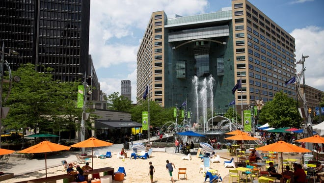 Campus Martius Park has proved to be a bright spot in downtown Detroit, helping to revitalize its troubled urban core with a skating rink, fountain, gardens and French bistro.