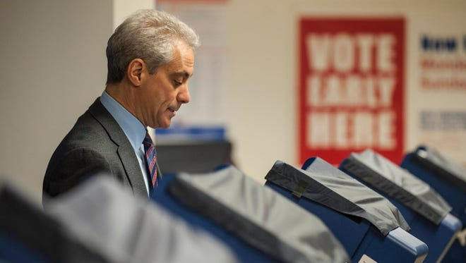 "Chicago Mayor Rahm Emanuel casts his ballot during early voting April 2, 2015, in Chicago. Emanuel faces Cook County Commissioner Jesus ""Chuy"" Garcia in a runoff election."
