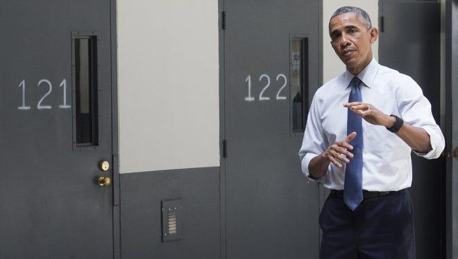 President Obama tours a prison in El Reno, Okla., on July 16, 2015.