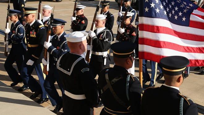 A U.S. military honor cordon at the Pentagon on Oct. 23, 2015, in Arlington, Va.
