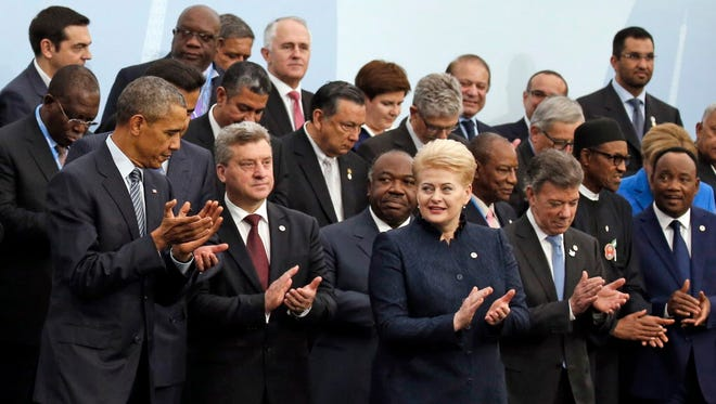 World leaders outside Paris on Nov. 30, 2015.