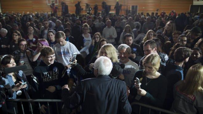 Bernie Sanders campaigns in Decorah, Iowa, on Jan. 24, 2016.