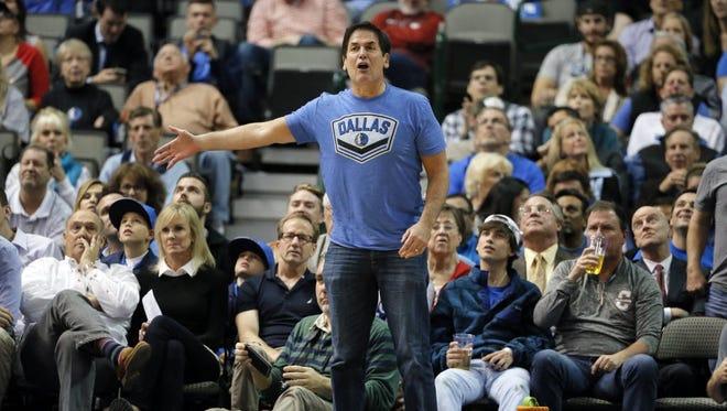 Mark Cuban during an NBA basketball game in Dallas in 2015.