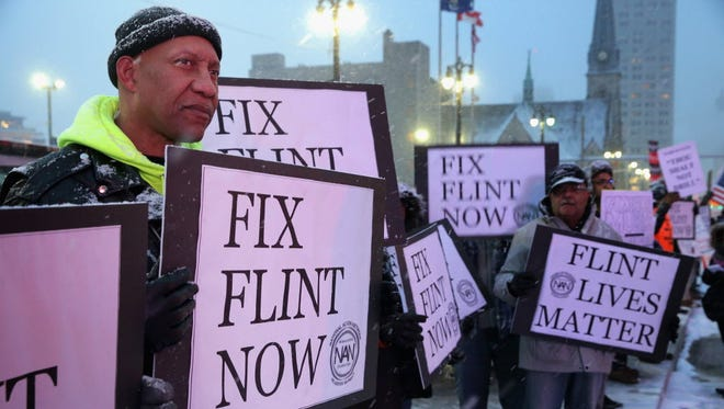 A demonstration in Detroit in March 2016.