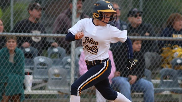 Greencastle-Antrim's Morgan Wagaman runs for home during a softball game against Chambersburg. Wagaman scored the game-winning run in the bottom of the seventh inning.