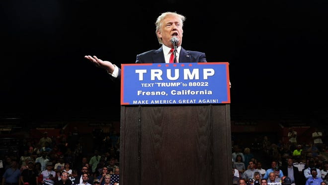Presumptive Republican presidential candidate Donald Trump speaks at a rally in Fresno on May 27, 2016 in Fresno, California. Trump is on a Western campaign trip which saw stops in North Dakota and Montana yesterday and two more in California today.
