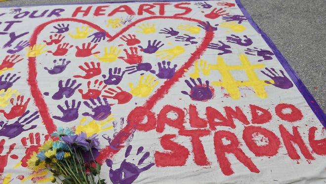 A memorial near the Pulse nightclub in Orlando on June 12, 2016.