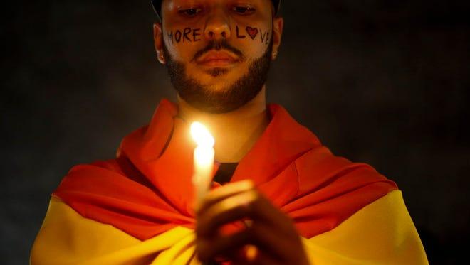 Candle light vigil for the Orlando victims in Sao Paulo, Brazil.