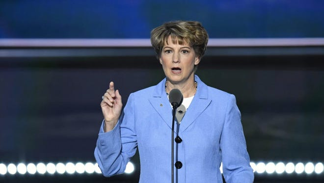 Retired astronaut Eileen Collins speaks during the 2016 Republican National Convention at Quicken Loans Arena.