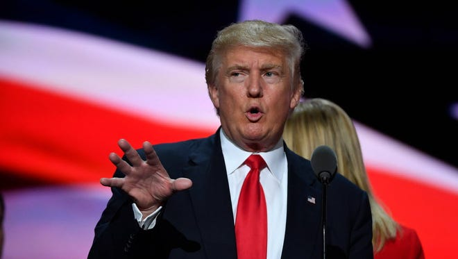 Republican presidential nominee Donald Trump during rehearsal on Thursday during the 2016 Republican National Convention at Quicken Loans Arena in Cleveland.