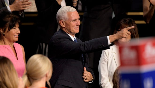 Indiana Gov. Mike Pence is pictured at the Republican Convention in Cleveland, Ohio.