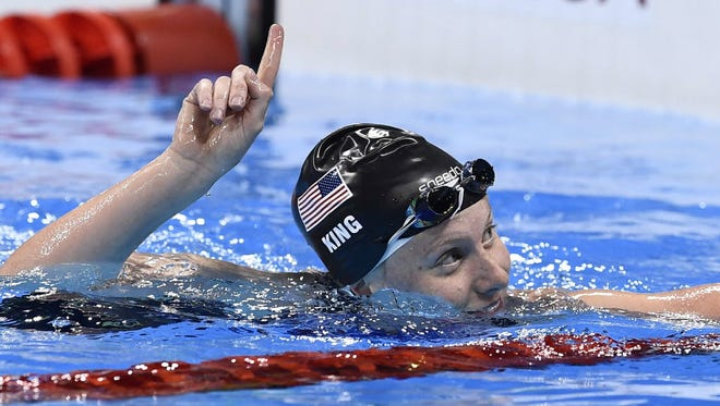 Lilly King qualified first in the 100-meter breaststroke.